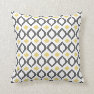 Retro Geometric Ikat Yellow Gray Pattern Cushion