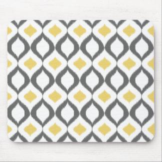 Retro Geometric Ikat Yellow Gray Pattern Mouse Mat