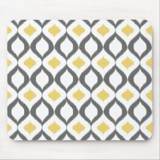 Retro Geometric Ikat Yellow Gray Pattern Mouse Pad