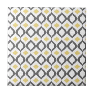 Retro Geometric Ikat Yellow Gray Pattern Small Square Tile