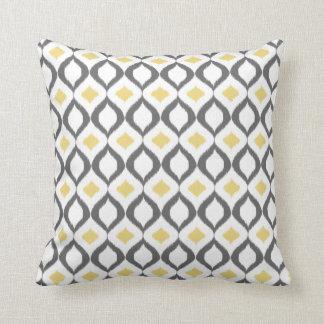 Retro Geometric Ikat Yellow Gray Pattern Throw Pillow