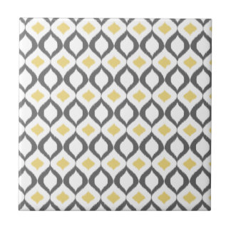 Retro Geometric Ikat Yellow Gray Pattern Tile