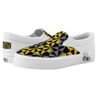 Retro Geometric Mustard Grey Mix Funky Design Slip-On Shoes