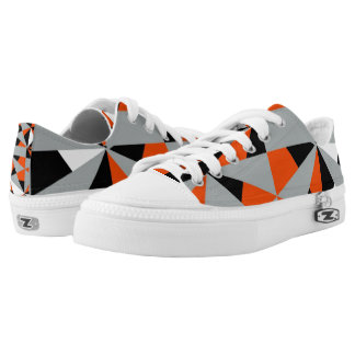 Retro Geometric Orange Mix Funky Design Low Tops