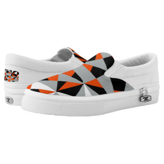 Retro Geometric Orange Mix Funky Design Slip-On Shoes