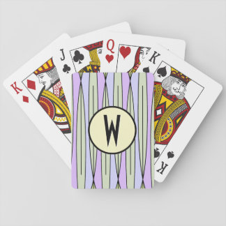 Retro Geometric Pale Green & Lavender -Monogrammed Playing Cards