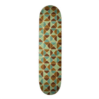 Retro geometric pattern 21.3 cm mini skateboard deck