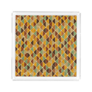 Retro geometric pattern 3 acrylic tray