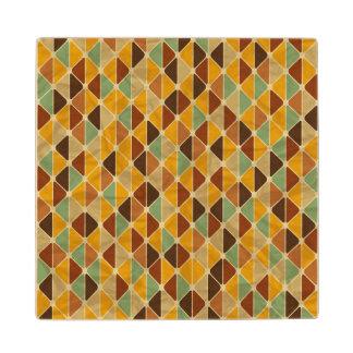 Retro geometric pattern 3 wood coaster