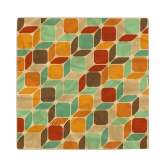Retro geometric pattern 4 wood coaster