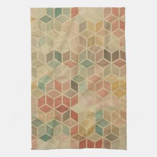 Retro geometric pattern 5 tea towel