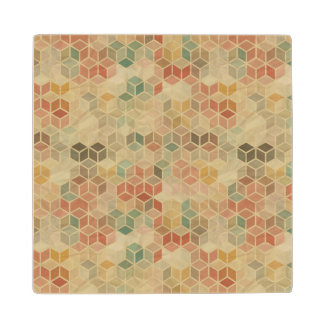 Retro geometric pattern 5 wood coaster