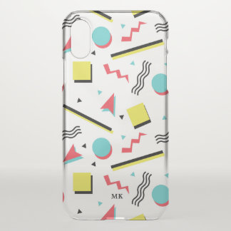 Retro Geometric Pattern - Monogram iPhone X Case