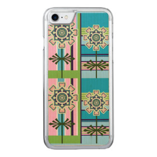 Retro geometric patterns and fantasy flowers carved iPhone 8/7 case