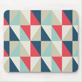 Retro Geometric Red and Blue Triangles Pattern Mouse Pad