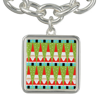 Retro Geometric Santa Charm Bracelet
