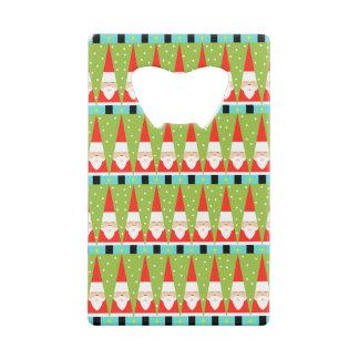 Retro Geometric Santa Credit Card Bottle Opener
