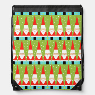 Retro Geometric Santa Drawstring Backpack