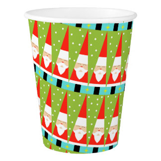 Retro Geometric Santa Paper Cups