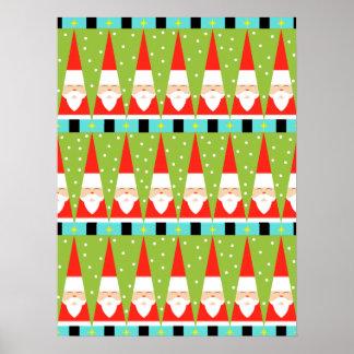 Retro Geometric Santa Poster