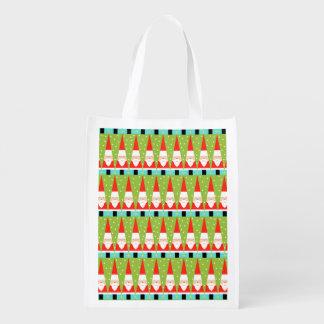 Retro Geometric Santa Reusable Grocery Bag