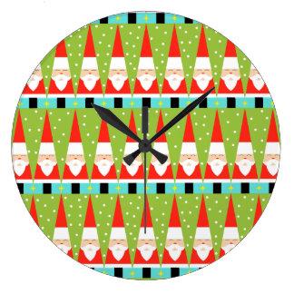 Retro Geometric Santa Round Wall Clock