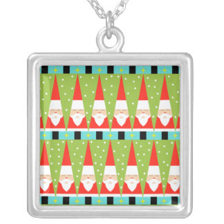 Retro Geometric Santa Square Necklace