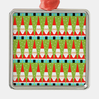 Retro Geometric Santa Square Ornament