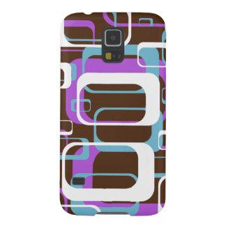 Retro Geometric Squares Brown Purple Blue Galaxy S5 Cover