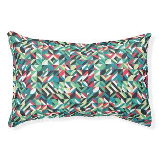 Retro Geometric Squares Pattern Pet Bed