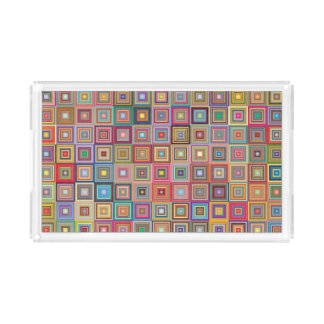 Retro Geometric Tile Pattern Acrylic Tray