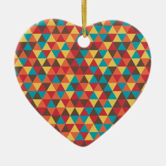 Retro Geometric Triangles Ceramic Heart Decoration