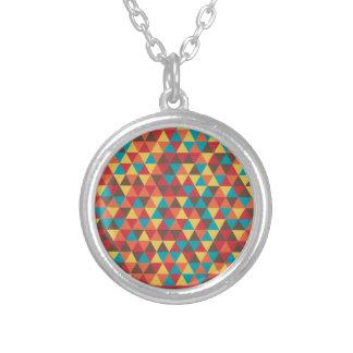 Retro Geometric Triangles Round Pendant Necklace