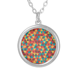 Retro Geometric Triangles Silver Plated Necklace