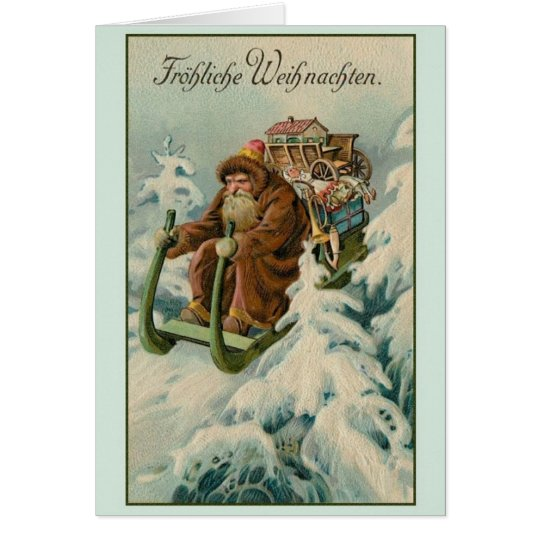 retro german fr hliche weihnachten christmas card zazzle. Black Bedroom Furniture Sets. Home Design Ideas