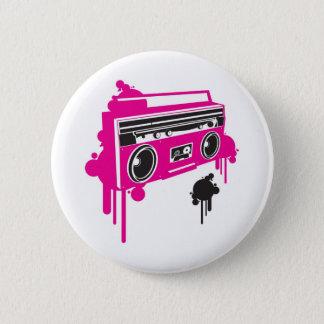 retro ghetto blaster stereo design 6 cm round badge