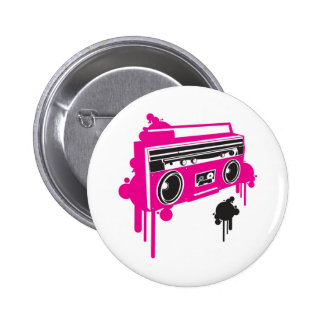 retro ghetto blaster stereo design 6 cm round badge