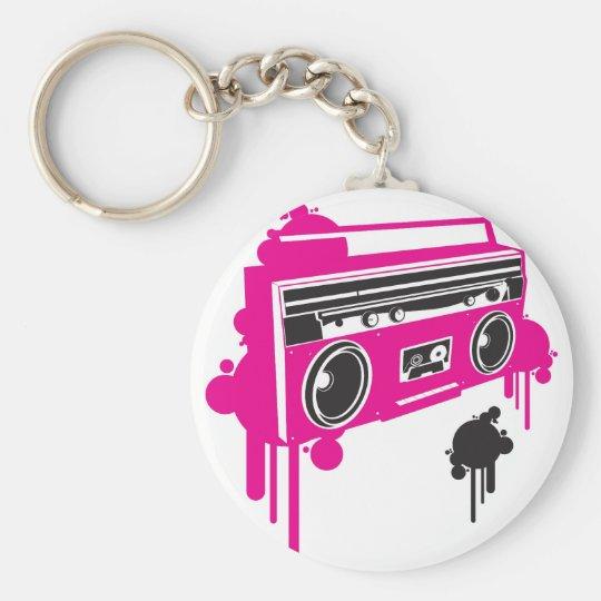 retro ghetto blaster stereo design basic round button key ring