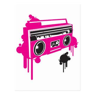retro ghetto blaster stereo design postcard