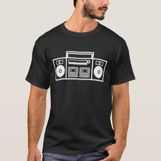 Retro Ghetto Blaster Stereo Music Tshirt - Black
