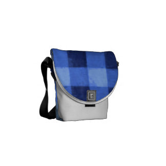 Retro Gingham Blue Messenger Bag