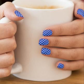 Retro Gingham Blue Nails Stickers