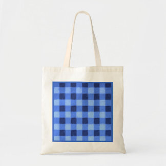 Retro Gingham Blue Party Favor Gift Tote Bags