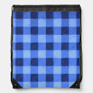 Retro Gingham Blue Cinch Bag