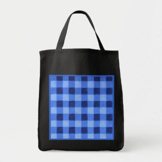 Retro Gingham Blue Reusable Black Canvas Bag