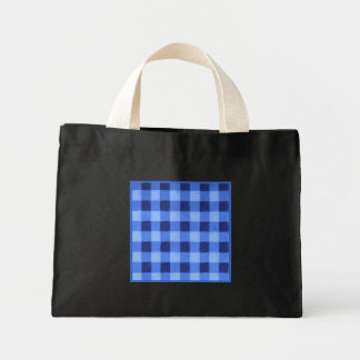 Retro Gingham Blue Small Black Tote Bags