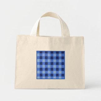 Retro Gingham Blue Small Mini Tote Bag