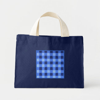 Retro Gingham Blue Small Navy Bag