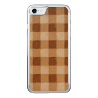 Retro Gingham Brown Carved iPhone 8/7 Case