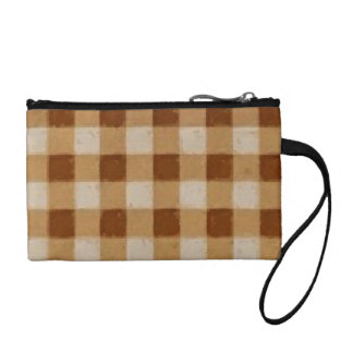Retro Gingham Brown Coin Wallets